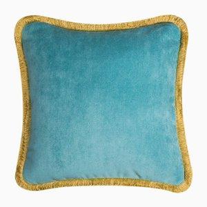 Cojín Happy Pillow en azul claro y amarillo de Lo Decor