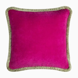 Happy Pillow in Fuchsia and Light Green from Lo Decor
