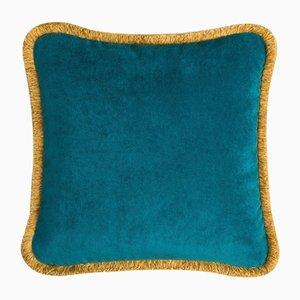 Coussin Happy Pillow Bleu Canard et Jaune de Lo Decor