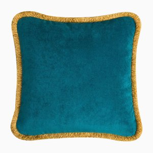 Happy Pillow in Teal and Yellow from Lo Decor