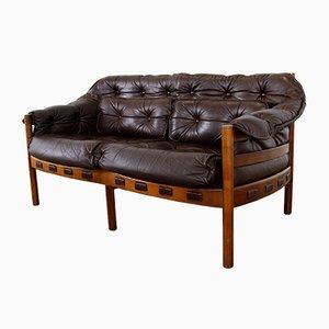 Sofá de dos plazas Mid-Century de teca y cuero de Arne Norell para Coja