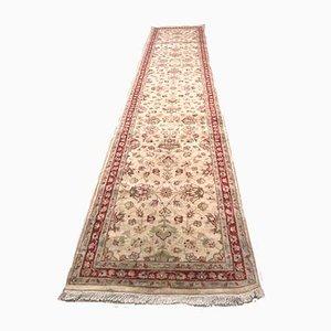 Alfombra de pasillo de Oriente Medio vintage de lana y seda