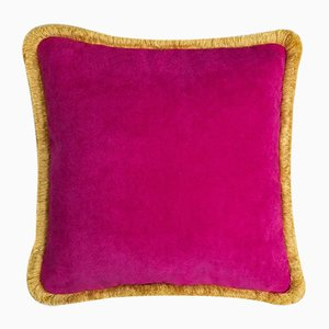 Cojín Happy Pillow en fucsia y amarillo de Lo Decor