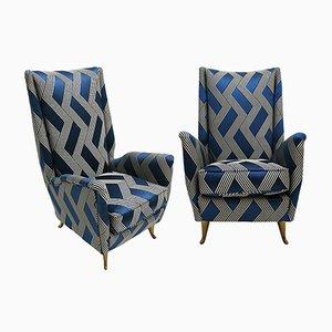 Italienische Mid-Century Sessel aus Holz, Leinen, & Baumwolle von Gio Ponti, 2er Set