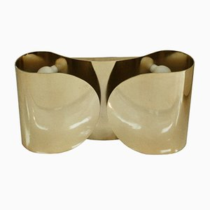 Mid-Century Italian Model Foglia Brass Sconce by Tobia & Afra Scarpa for Flos, 1960s