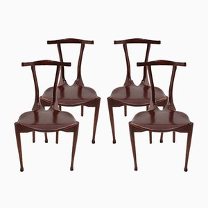 Spanish Ash & Leather Gaulino Chairs by Oscar Tusquets, 1987, Set of 4