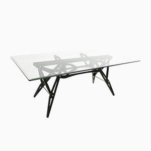 Italienischer Modell Reale Tisch mit schwarzem Gestell aus Kirschholz & Glasplatte von Carlo Mollino für Zanotta, 1950er