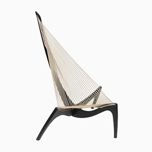 Danish Rope & Black Lacquered Wood Harp Chair by Jørgen Høvelskov, 1960s