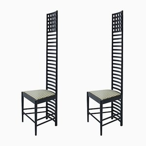 Italian Ash & Cotton 292 Hill House 1 Chairs by Charles Rennie Mackintosh, 1960s, Set of 2