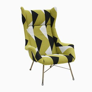Czechoslovak Black Lacquered Steel & Cotton Armchair by Miroslav Navratil, 1960s