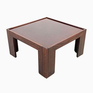 Italian Square Rosewood Coffee Table by Tobia & Afra Scarpa for Cassina, 1970s
