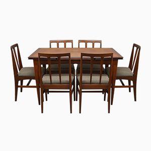 Juego de mesa de comedor y seis sillas Mid-Century de Younger, años 60
