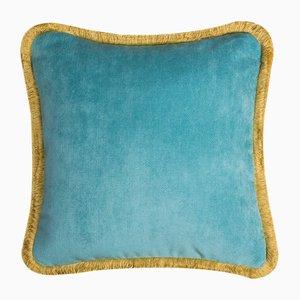 Cuscino Happy Pillow azzurro e giallo di Lo Decor