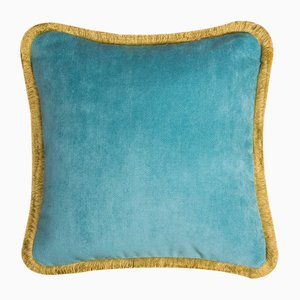 Happy Pillow in Light Blue and Yellow from Lo Decor