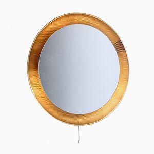 Beleuchteter Spiegel mit perforiertem Messingrahmen & getöntem Glas von Mathieu Matégot für Artimeta, 1950er