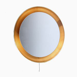 Illuminated Perforated Brass Coloured Mirror by Mathieu Matégot for Artimeta, 1950s