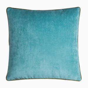 Happy Frame Pillow in Light Blue and Green from Lo Decor