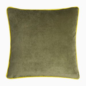 Happy Frame Pillow in Green and Yellow from Lo Decor