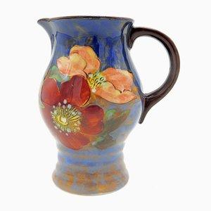 Jarra británica vintage con motivos florales de Royal Doulton, años 40