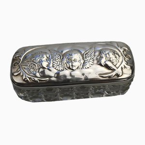 Caja antigua de plata maciza con ángeles en relieve de Mitchell Bosley