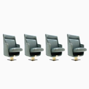 Vintage Leather Theater Seats by Karel Prager, 1970s, Set of 4