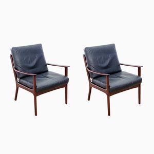 Danish Model PJ 112 Lounge Chairs for Poul Jeppesen Møbelfabrik, 1950s, Set of 2