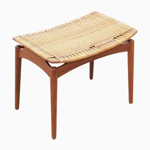 Mid-Century Danish Teak and Cane Stool, 1960s