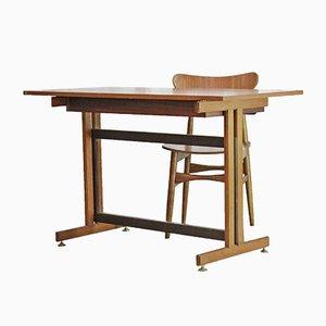 Scrivania in teak con sedie in legno, Scandinavia, anni '60