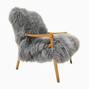 Vintage Bentwood & Grey Sheepskin Armchair from TON, 1960s