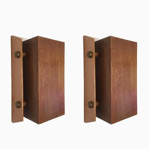 Vintage Teak Wall Sconces, 1970s, Set of 2