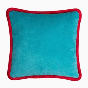 Cojín Happy Pillow en azul claro y rojo de Lo Decor