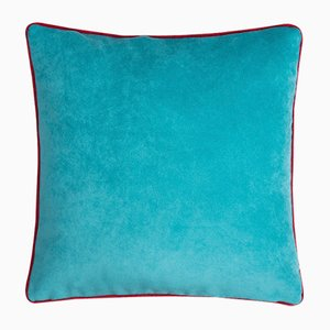 Happy Frame Pillow in Tiffany and Red from Lo Decor