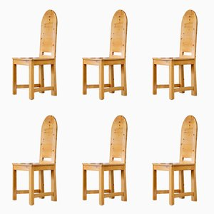 Schwedische Vintage Stühle aus Pinienholz, 1974, 6er Set