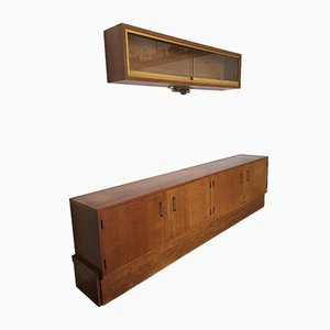 Aparador y unidad de pared vintage de teca, años 60. Juego de 3