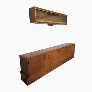 Aparador y unidad de pared vintage de teca, años 60.