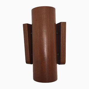 Cylindrical Teak Sconces, 1970s, Set of 2