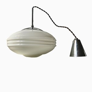 Vintage Danish Opaline Glass Pendant Light by Louis Poulsen, 1930s