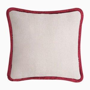 Happy Pillow in hellem Beige & Granatrot von Lo Decor