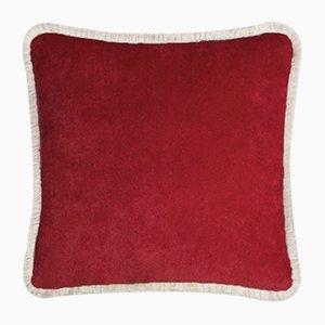 Happy Pillow in Granatrot & Beige von Lo Decor