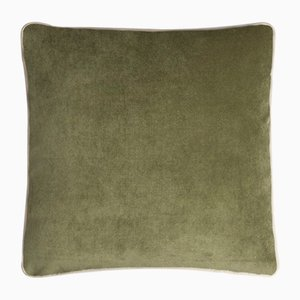 Happy Frame Pillow in Green and Light Beige from Lo Decor