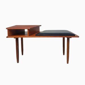 Mid-Century Telefontisch aus Teak mit Sitz aus Vinyl, 1970er