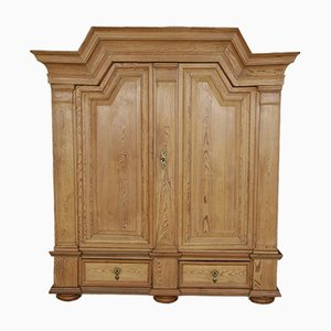 Antique Baroque Wardrobe with Trapezoidal Gable