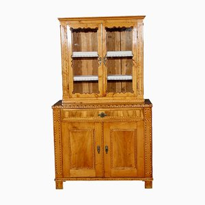 Antique Biedermeier Inlaid Wood Cupboard