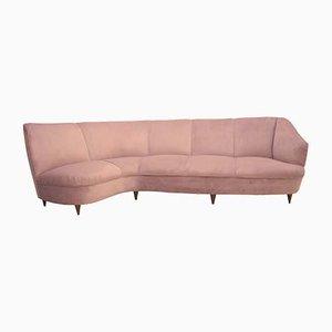 Mid-Century Modern Semi-Curved Pastel Pink Cotton Velvet Sofa, 1940s