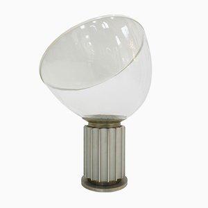 Italienische Taccia Tischlampe aus Glas und Aluminium von Achille Castiglioni für Flos, 1962