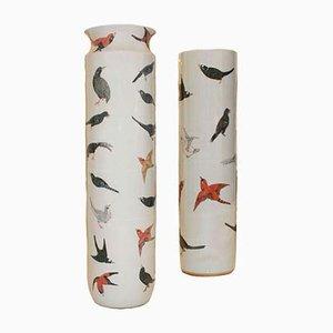 Glasierte Mid-Century Vasen aus Terrakotta, 2er Set