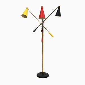 Lámpara de pie Mid-Century de latón de Oscar Torlasco, años 50