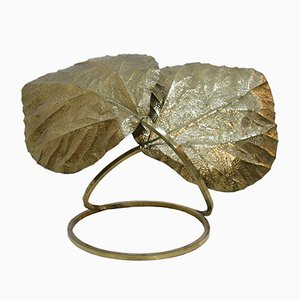 Italian Brass Leaf Table Lamp by Tommaso Barbi, 1970s