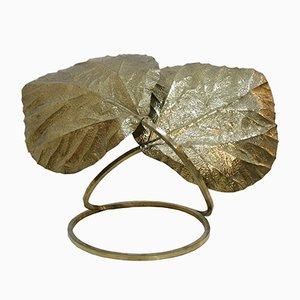 Lámpara de mesa italiana en forma de hojas de latón de Tommaso Barbi, años 70