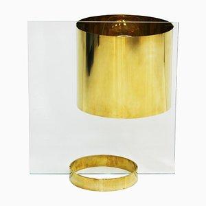 Lampada da tavolo Mid-Century in vetro ed ottone di Lumenform, anni '60